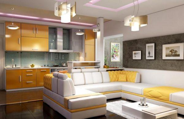 Жёлтая гостиная-кухня фото