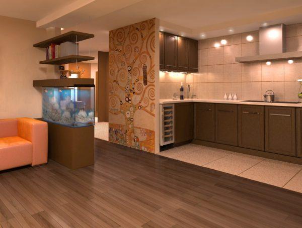 Аквариум в кухни-гостиной фото