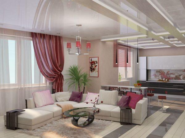 Сиреневый цвет в интерьере кухни-гостиной
