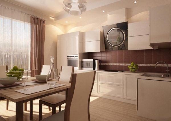 Бежевая мебель в кухне