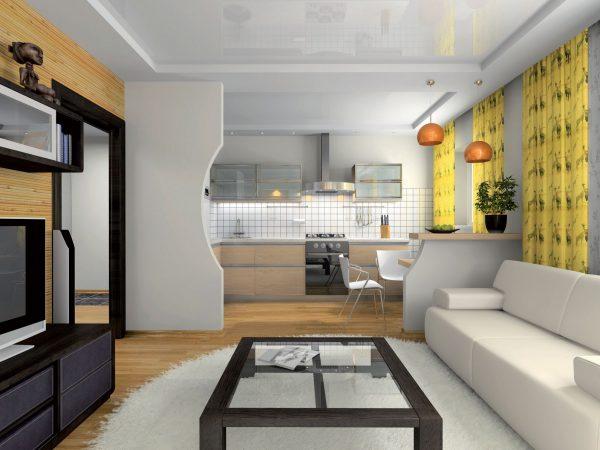 Небольшая гостиная с кухней дизайн фото