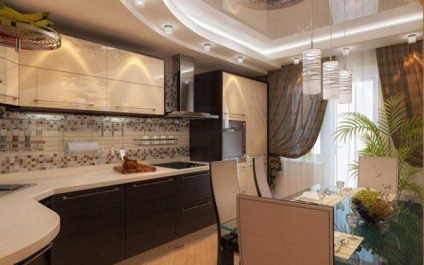 Бежево-коричневая кухня фото