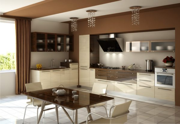 Фото бежево-коричневой кухни
