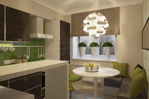 Бежево-зелёная кухня фото
