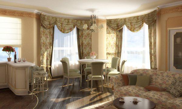 Дизайн штор в гостиной в стиле прованс