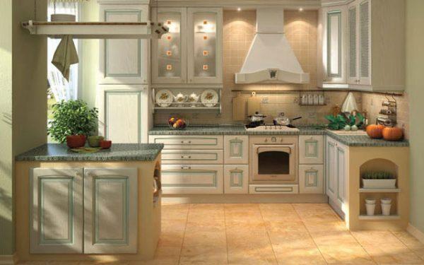 Бежевая плитка в кухни