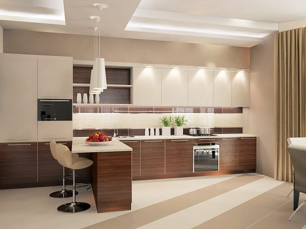 Бежевый цвет в интерьере кухни (50 фото)