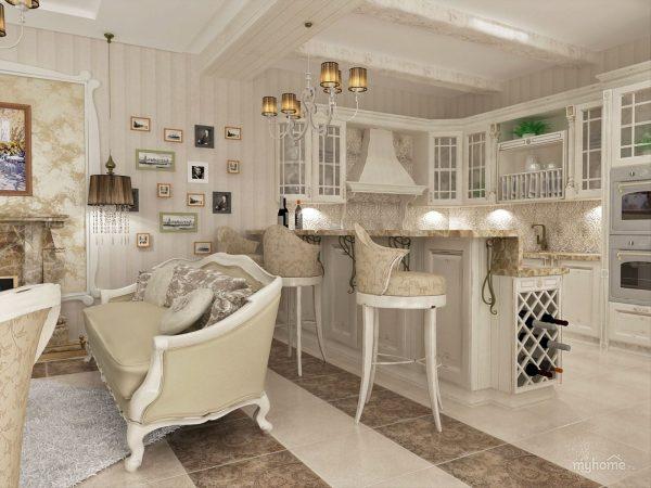 белый дуб в кухне-гостиной фото