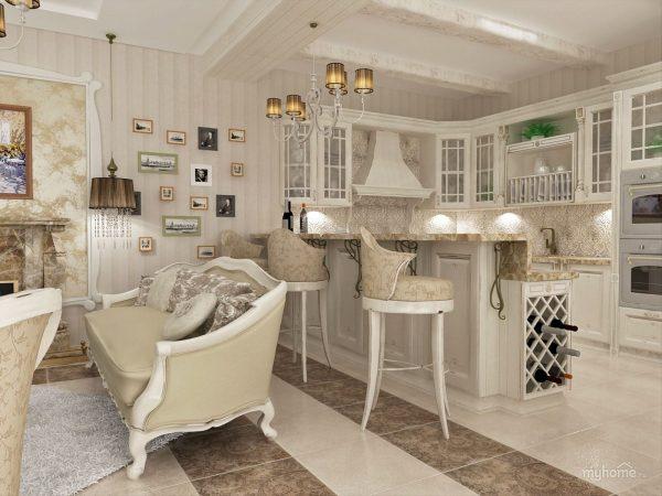 кухня гостиная в стиле прованс фото интерьеров