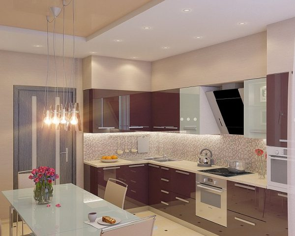 Бежево-фиолетовая кухня фото