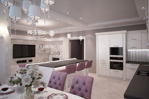 Современная мебель в кухне-гостиной