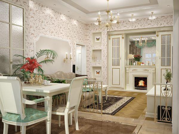 Освещение в интерьере комнаты-кухни