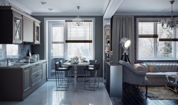 Современная гостиная, совмещённая с кухней