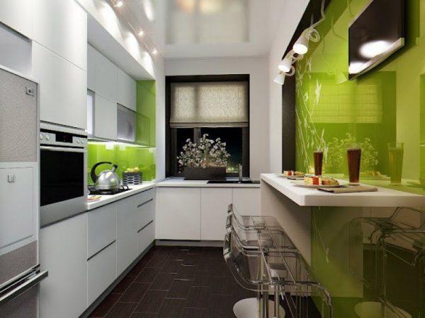 Зелёные тона в кухне