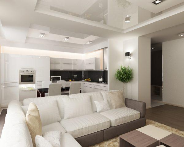 Белая кухня-гостиная фото