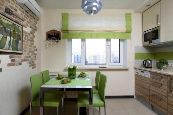 Зелёная мебель в кухне