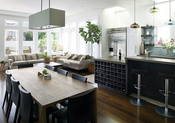 Большая гостиная-кухня фото