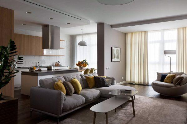 Интерьеры кухни-гостиной в современном стиле (31 фото): идеи дизайна совмещенного пространтва
