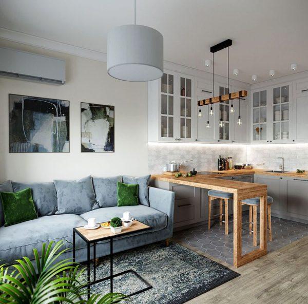 Заказать Кухня гостиная в современном стиле и фасадами со стеклом в Санкт-Петербурге