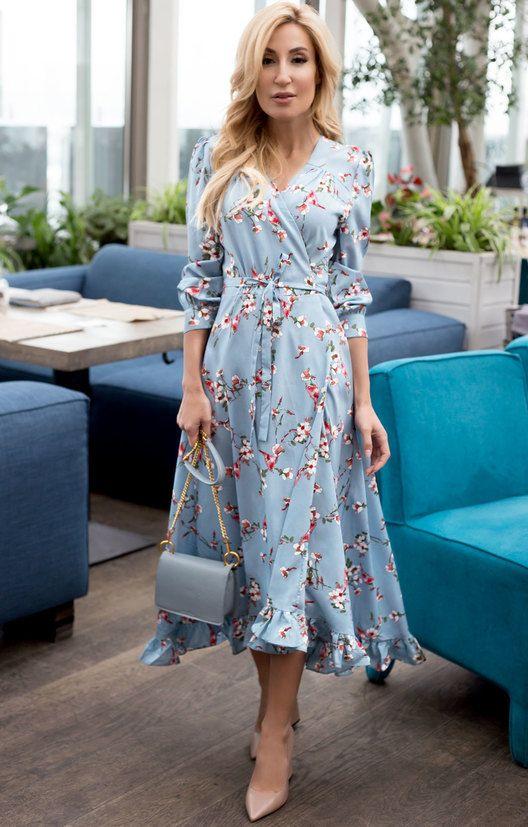 Приталенное платье на запáх с цветами и птицами H.I.T.   Trending fashion outfits, Fashion outfits, Maxi dress